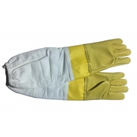 Quality #13 Yellow  Goat Skin  And Smoothy Leather Wrist Protector  And White Cloth Sleeve   Bee Glove for sale