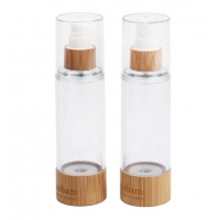 Quality Plastic Luxury Pump Bamboo Lotion Cosmetics Packaging Airless Bottle for sale