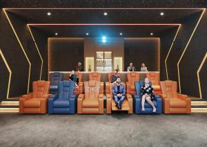Quality 3D Home Cinema System With Genuine Leather Movie Theater Sofa Seats And Electric Recliner for sale
