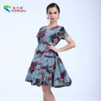 Quality Lady Waist Midi Printing Flower Cotton Summer Dresses With Short Sleeves for sale