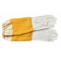 Quality White Sheepskin Beekeeping Gloves with Ventilated Yellow Gridding Proof for sale