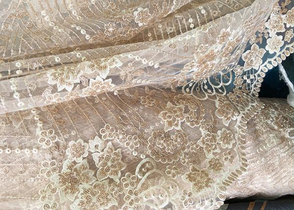 Buy Champagne Gorgeous Flowers Sequin Lace Fabric With Dot Scalloped For Party Gown at wholesale prices