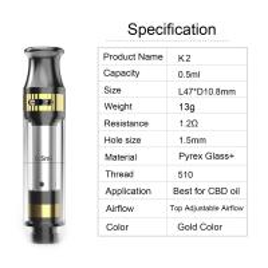 Buy cheap CBD tank K2 cartridge 0.5ml tank capacity adjustable airflow ceramic coil pyrex from wholesalers