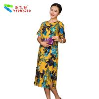 Quality Flower Printed Long Casual Summer Dresses With Short Sleeves 100% Cotton Material for sale