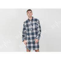 Buy cheap Mens Woven Cotton Brushed Twill Yarn Dyed Long Sleeve Nightshirt Button Placket from wholesalers