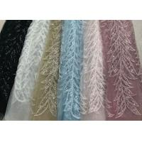 Quality Blue Shiny Embroidered Leaf Lace Fabric With Beads And Sequins 120CM Width for sale
