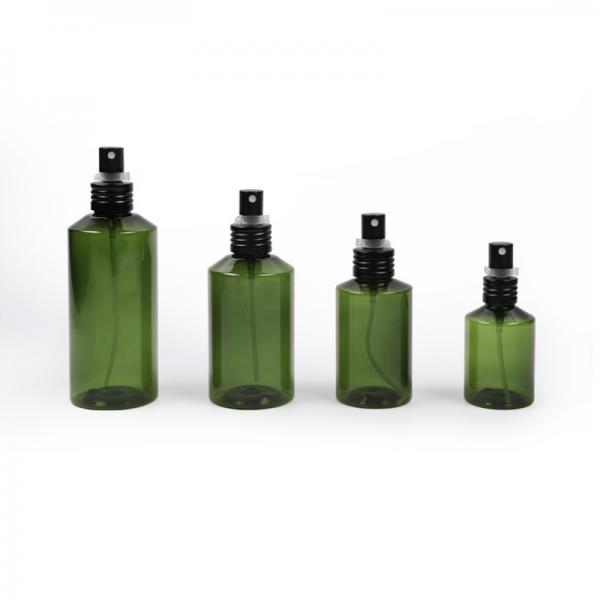 Buy Sloping Shoulder Plastic Cosmetic bottle packaging empty pet bottle with spray at wholesale prices