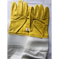 Quality Yellow Sheepskin Gloves For Beekeeping With White Ventilated Wrist White Cloth Sleeve for sale