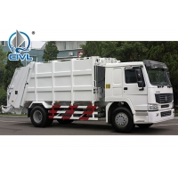 Quality 371Hp Automatic HOWO 4x2 Compact Rear Load Garbage Truck 12m3   EuroIII White Color for sale