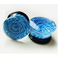 Quality FPG-GLASS Translucent bright blue Glass Ear Stretcher plug body jewelry for sale