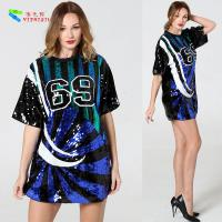 Quality Breathable Sparkle Bling Sequin T Shirt Dress With Numbers Anti - Shrink for sale