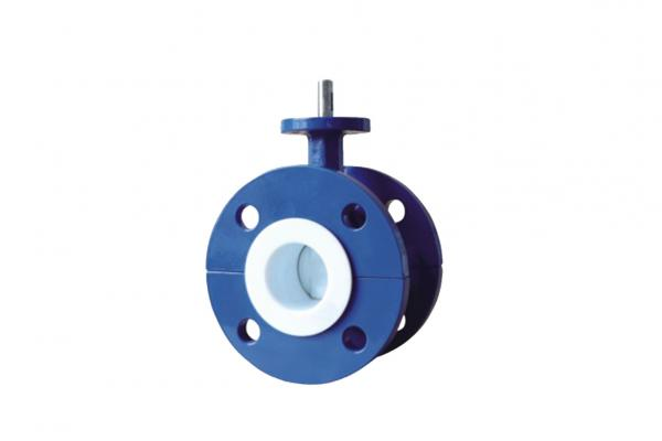 Buy Blue Flanged PTFE Lined Butterfly Valve , Worm Gear Operated Butterfly Valve at wholesale prices