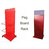 Buy cheap Red Peg Board Metal Floor Display Stands With Doulbe Sides Easy Moving from wholesalers