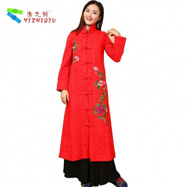 Buy Long Padded Women Embroidered Winter Coats Chinese Style With Single Breasted at wholesale prices