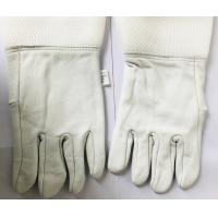 Quality White Sheepskin Beekeeping Gloves , Honey Bee Gloves With White Soft Ventilated Cuff for sale