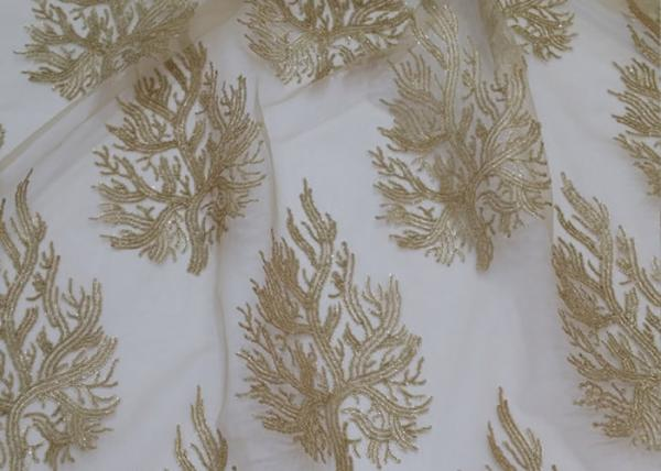 Buy Embroidered Tree Gold Sequin Lace Fabric By The Yard For Wedding Bridal Evening Dress at wholesale prices