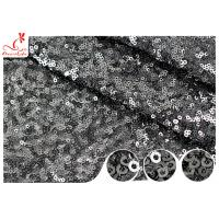Quality Shiny Embroidered Black Sequin Mesh Fabric For Party Evening Dress R&D Available for sale