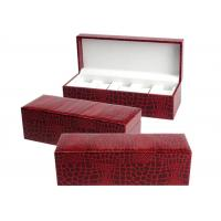 Quality Red Mens Luxury Watch Case , Rectangle MDF + Velvet Women'S Watch Case for sale