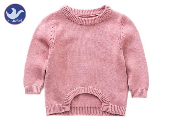 Buy Scoop Welt Knit Girls Pullover Sweaters Crew Neck Long Sleeves Armhole Jumper at wholesale prices
