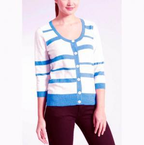China Stripe Slub Yarn Knit Cardigan Sweater 100 Cotton Material Careful Washing on sale