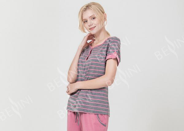Buy Homestyle Round Neck Women'S Pajama Short Sets , Ladies Striped Pyjamas sets at wholesale prices