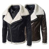 Buy cheap Fashion Winter Sheepskin Lined Leather Jacket , Mens Faux Leather Aviator Jacket from wholesalers