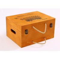 Quality Yellow Color Personalised Wooden Wine Box Six Bottoms With Rope Handle for sale