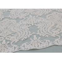 Quality Ivory Sequin Lace Fabrics , Embroidered Bridal Lace Fabrics For Wedding Dresses for sale