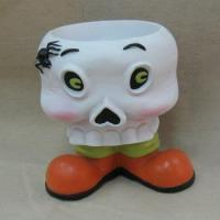 12 Inch Resin Skull Head Candy Bow Greeter Halloween Decoration