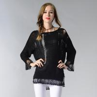 Quality 2018 newest unique hole breathable sexy ladies knitted sweater with lace for sale