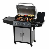 Quality Master Cook Outdoor BBQ 4-Burner Cabinet Propane Gas Grill with Side Burner for sale