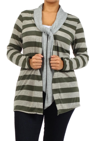 Buy Tie Neck Long Sleeve Cardigan - OLIVE STRIPES at wholesale prices