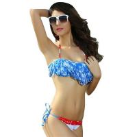 Buy cheap Big Sale American Flag Fringe Padded Top Scrunch Butt Bikini from wholesalers