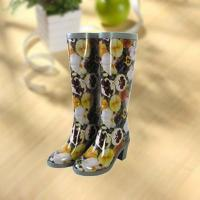 Quality Sexy lady flower vase printing rubber rain boot for sale