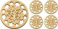 Quality Wooden Maple Leaves Trivet and Coasters Gift Set [MLW-66625] for sale
