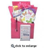 Gift for Cancer Patient |Boredom Buster Get Well Gift Basket with Book in Pink