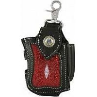 Quality Genuine stingray / cow leather cigarette pack / phone holder STCC312 Black / Red for sale