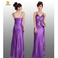 7577# Purple satin evening gowns