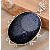 Quality Goldstone Blue Goldstone Gemstone Puffy Square pendant with Sterling Silver for sale