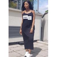 Quality Black Casual lower O-Neck Sleeveless Straight Middle length skirt Club Dresses Item NO: TR67043-0 for sale