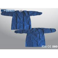 Disposable lab coat with elastic cuff navy blue PP two pockets five press studs